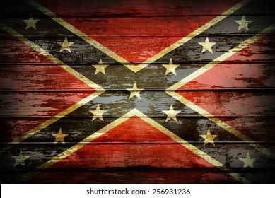 Closeup of Confederate flag on boards