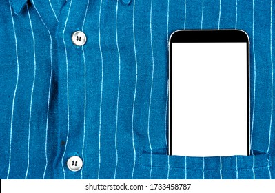 Closeup confident business man wearing elegant suit with mobile phone isolated screen with clipping path. Smartphone with white screen and empty space in pocket