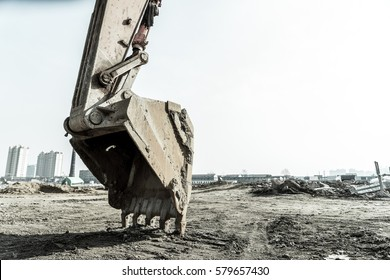 Close-up of a construction site excavator.