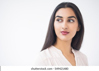 Closeup of Content Young Attractive Indian Lady