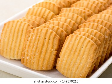 Closeup of cookies in a row