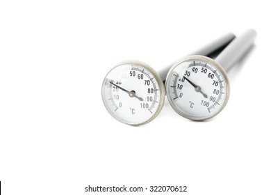 close-up of cooking thermometer and gauge, isolated on white