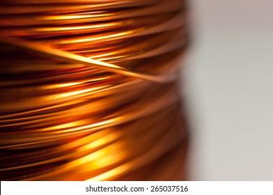 Closeup of copper coil wiring