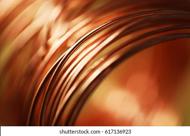 Closeup of Copper Coil Wiring with Focus on One Wire