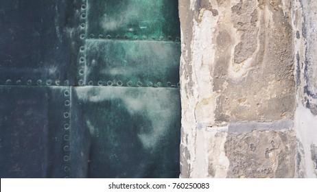Closeup of copper door