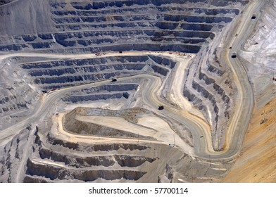 Close-up of Copper Mine Open Pit Excavation