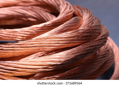 Closeup of copper wire, concept of industry development and market of raw materials