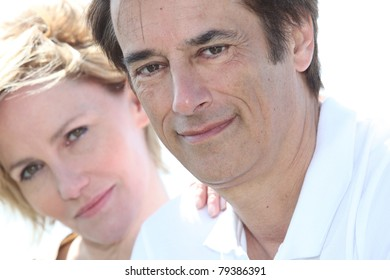 close-up of couple outdoors