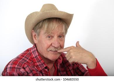 closeup of a cowboy