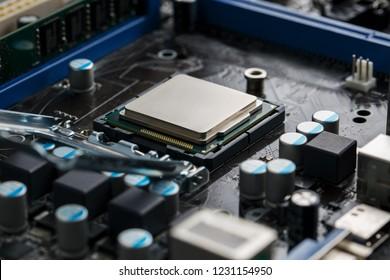 Close-up of CPU Chip Processor. Selective Focus.