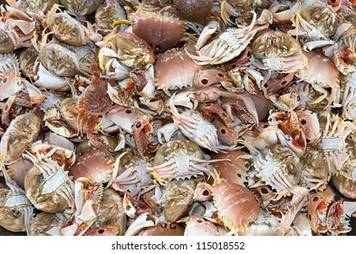 Closeup of crabs in a Philippines fish market