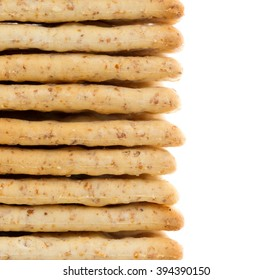 Close-up of crackers isolated on a white background