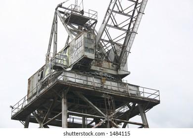 Close-up of crane at the port