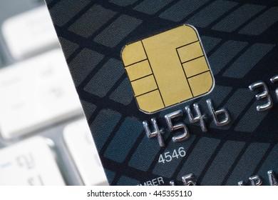 A closeup of credit card chip