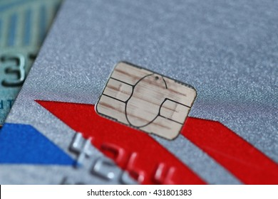 Closeup Credit Card with Chip Card Technology