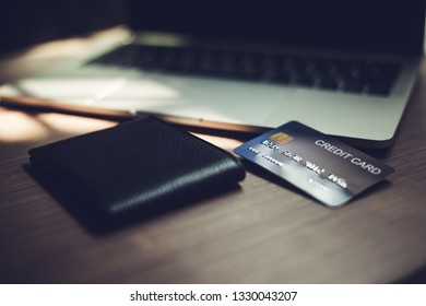 Close-up credit card, credit card concept, credit card technology to pay instead of cash. Credit card image format For use Public relations media.