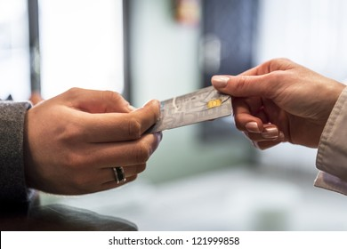 Close-up of credit card in humans hand