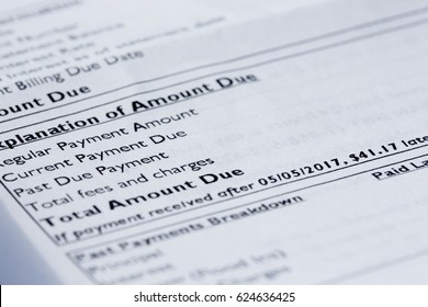 Close-up of credit card statement with focus on Total Amount Due