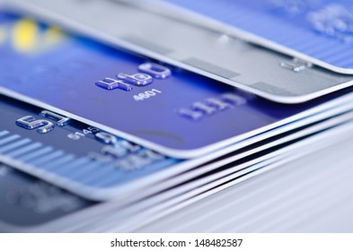 Closeup of credit cards. Extreme shallow depth of field.