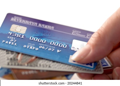 Close-up a credit cards. Very shallow depth of focus