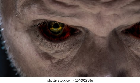 Close-up of the creepy eyes of an elderly man. Concept: Halloween