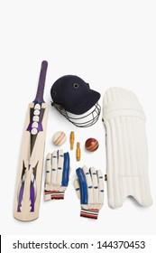 Close-up of cricket equipment