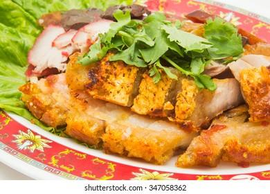 Close-up of crispy pork (Chinese food)