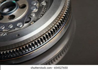 Closeup cropped image of Dual-Mass Flywheel on black