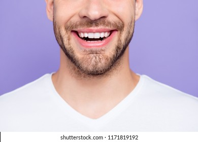 Close-up cropped portrait of attractive, trendy, stylish, toothy man with wide beaming smile and healthy teeth, over pastel violet purple background