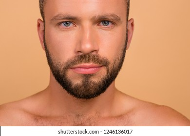 Close-up cropped portrait of confident content attractive handsome man clean clear flawless smooth fresh shine healthy skin isolated over beige pastel background