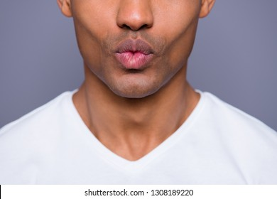 Close-up cropped portrait of his he nice handsome attractive well-groomed cheerful guy wearing white shirt hot kiss isolated over gray violet purple pastel background