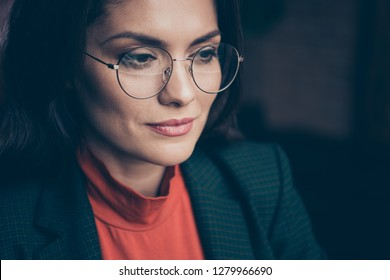 Close-up cropped portrait of nice gorgeous attractive serious calm content wavy-haired lady business shark agent broker real estate consultant partner at work place station