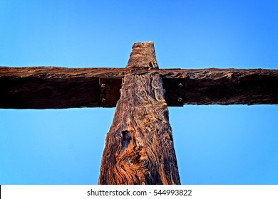 Closeup of the cross up on the hill in Ventura California.