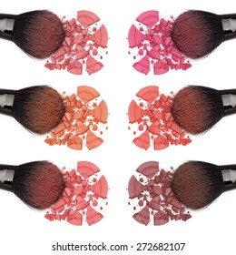 Closeup of crumbled powder blush different color shades with makeup brush on white background