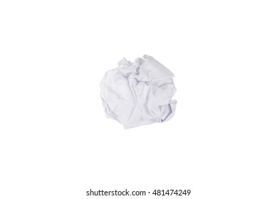 closeup of crumpled paper ball isolated on white background.
