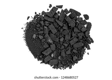 closeup of crushed black watercolor paint isolated