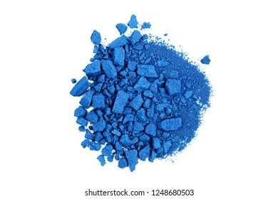 closeup of crushed blue watercolor paint isolated