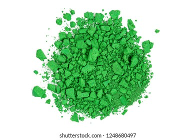 closeup of crushed green watercolor paint isolated