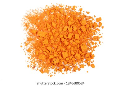 closeup of crushed orange watercolor paint isolated