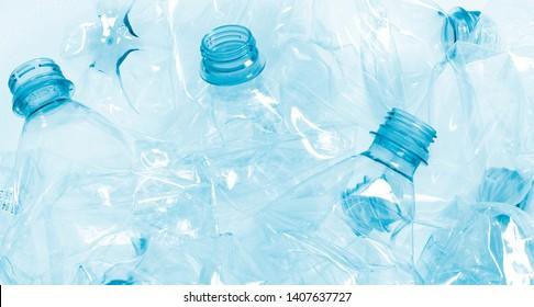 closeup of crushed plastic bottles. plastic garbage environmental threat