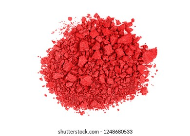 closeup of crushed red watercolor paint isolated