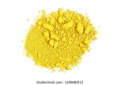 closeup of crushed yellow watercolor paint isolated