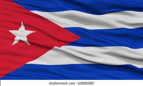 Closeup Cuba Flag, Waving in the Wind, High Resolution