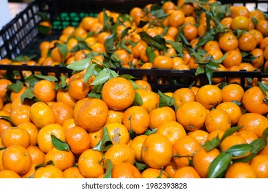 Closeup of cumulated fresh oranges in baskets for selling in a supermarket.