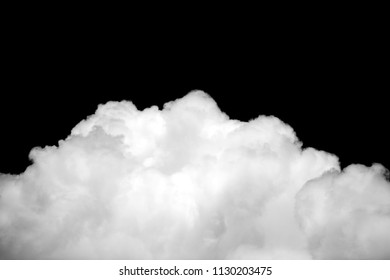 Close-up cumulus clouds isolated on black sky