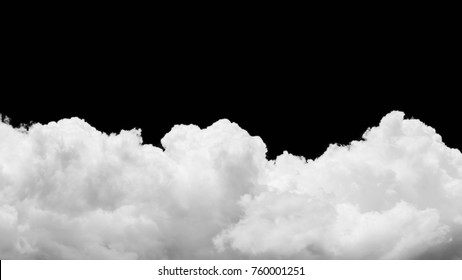 Close-up cumulus clouds isolated on black background, Black sky with white clouds panorama
