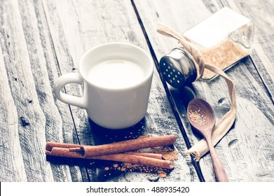 closeup a cup of hot milk, Daily product