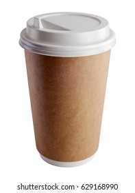 Close-up of cup with lid for hot beverage on white background. Studio shot with clipping path.