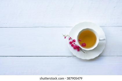 Closeup of cup of tea on wooden table with blur background. Flat lay.still life with tea cup.