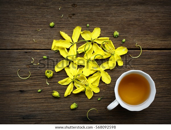 Closeup of cup of tea on wooden table with blur background .Flat lay.still life with tea cup.(selective focus)